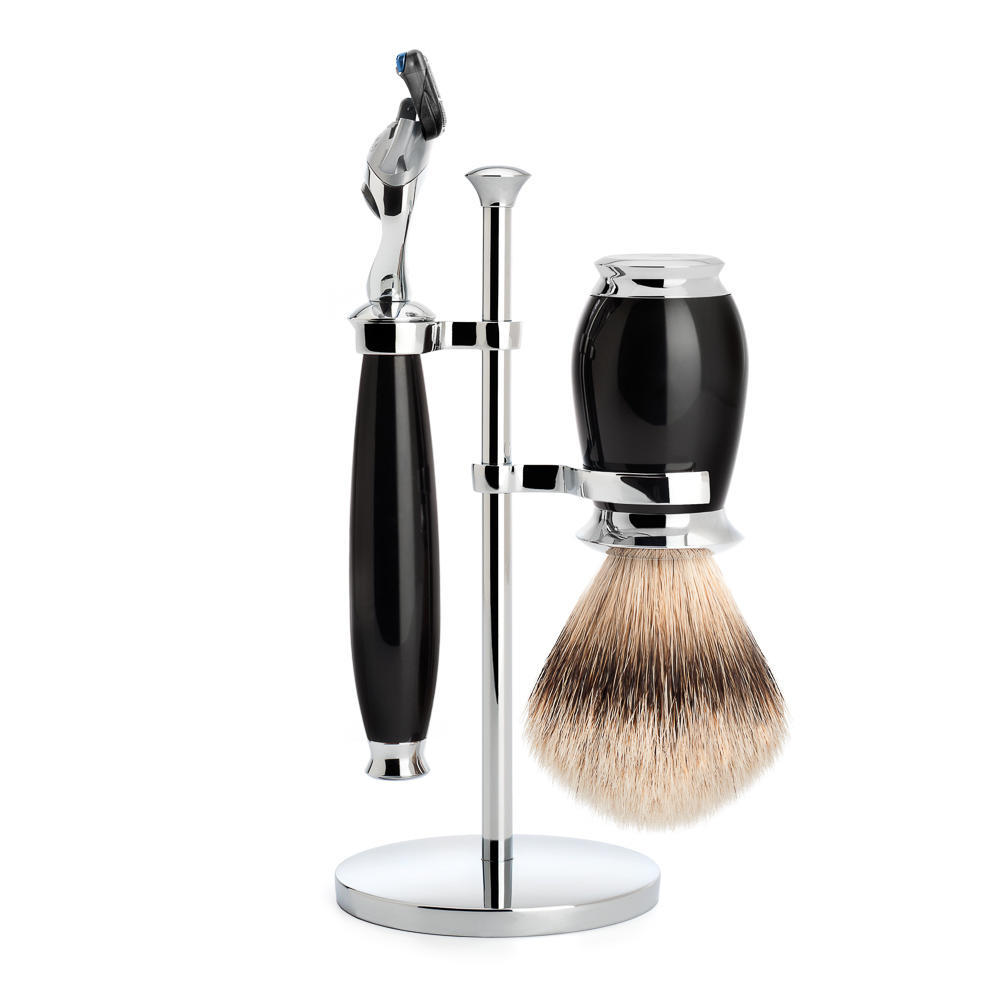 MUHLE PURIST Silvertip Badger Brush and Fusion Razor Shaving Set in Black with Stand - S091K56F