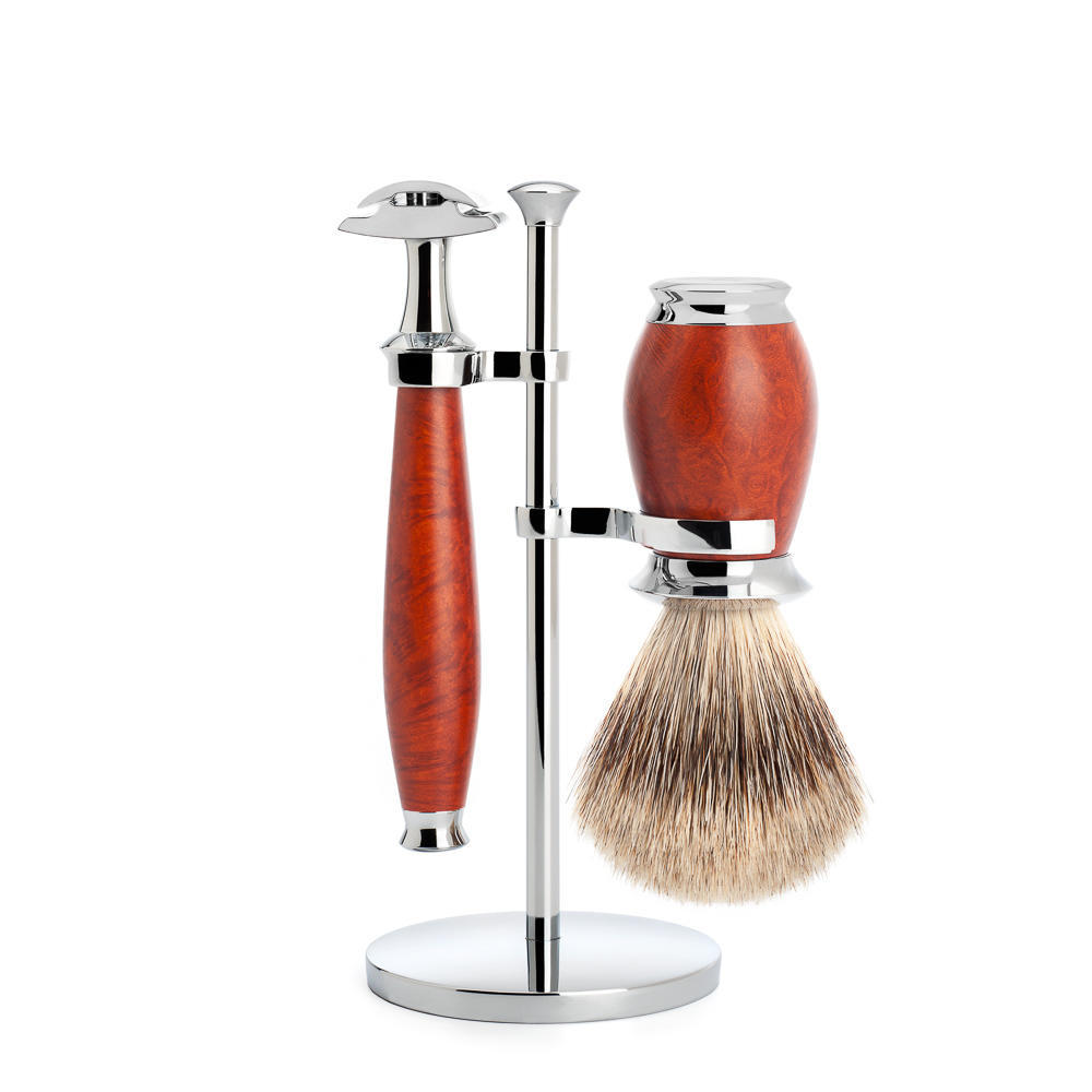 MUHLE PURIST Fine Badger Shaving Brush and Safety Razor Shaving Set in Briar Wood with Stand - S281H59SR