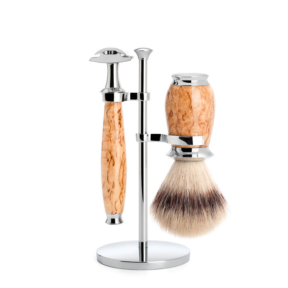 MUHLE PURIST Karelian Masur Birch Silvertip Fibre Shaving Brush and Safety Razor Set with Stand - S31H55SR