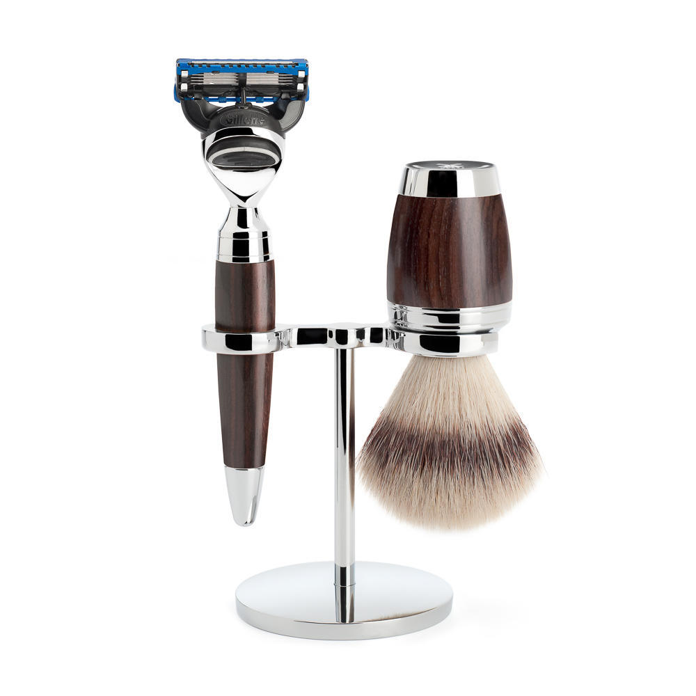 MÜHLE STYLO 3-piece shaving set in grenadille Incl. silvertip fibre shaving brush and fusion razor