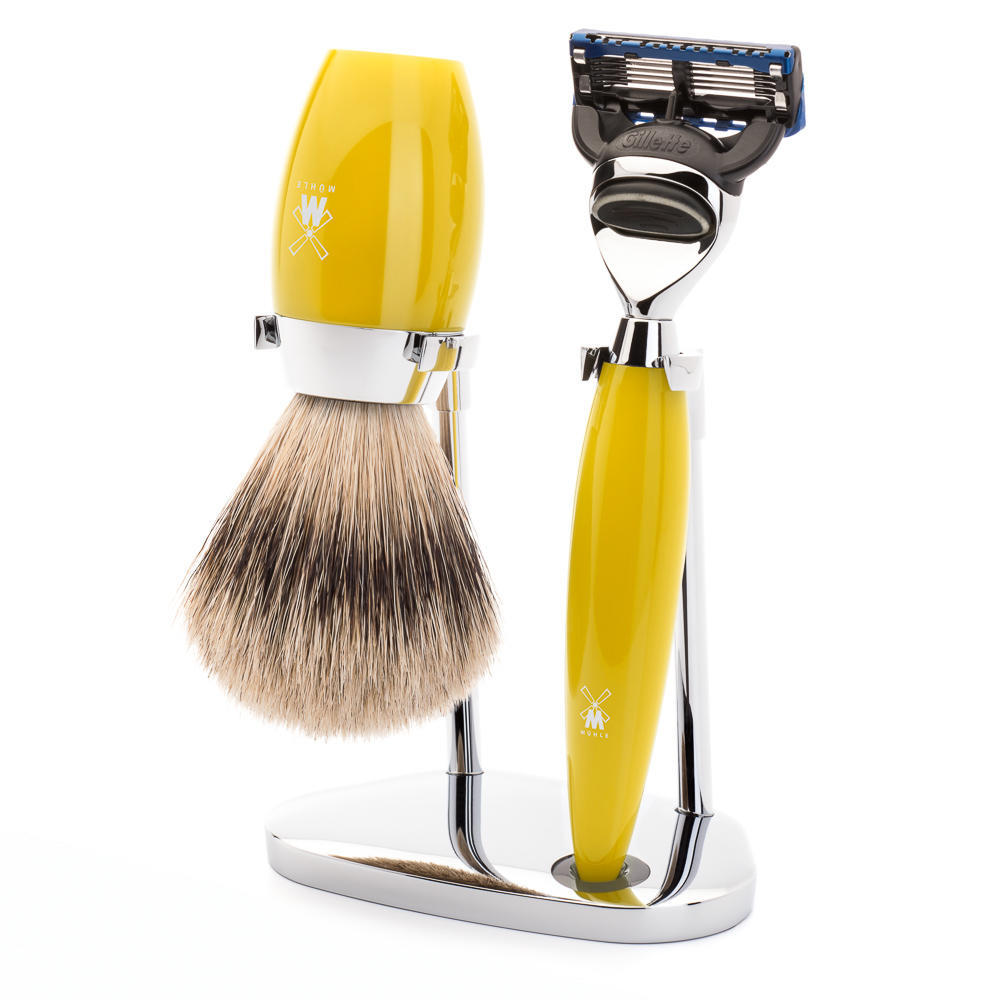 MÜHLE KOSMO 3-piece shaving set in citrine Incl. silvertip badger shaving brush and Fusion razor