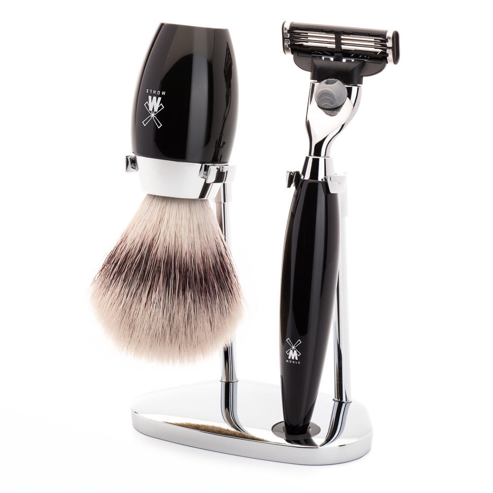 MÜHLE KOSMO 3-piece shaving set in black Incl. silvertip fibre shaving brush and Mach3 razor