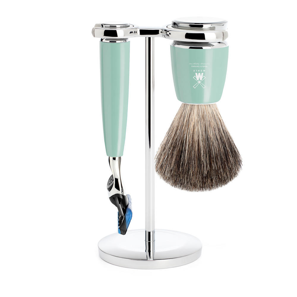 MUHLE RYTMO Mint Resin 3-piece Pure Badger Brush and Fusion Razor Shaving Set - S81M224F