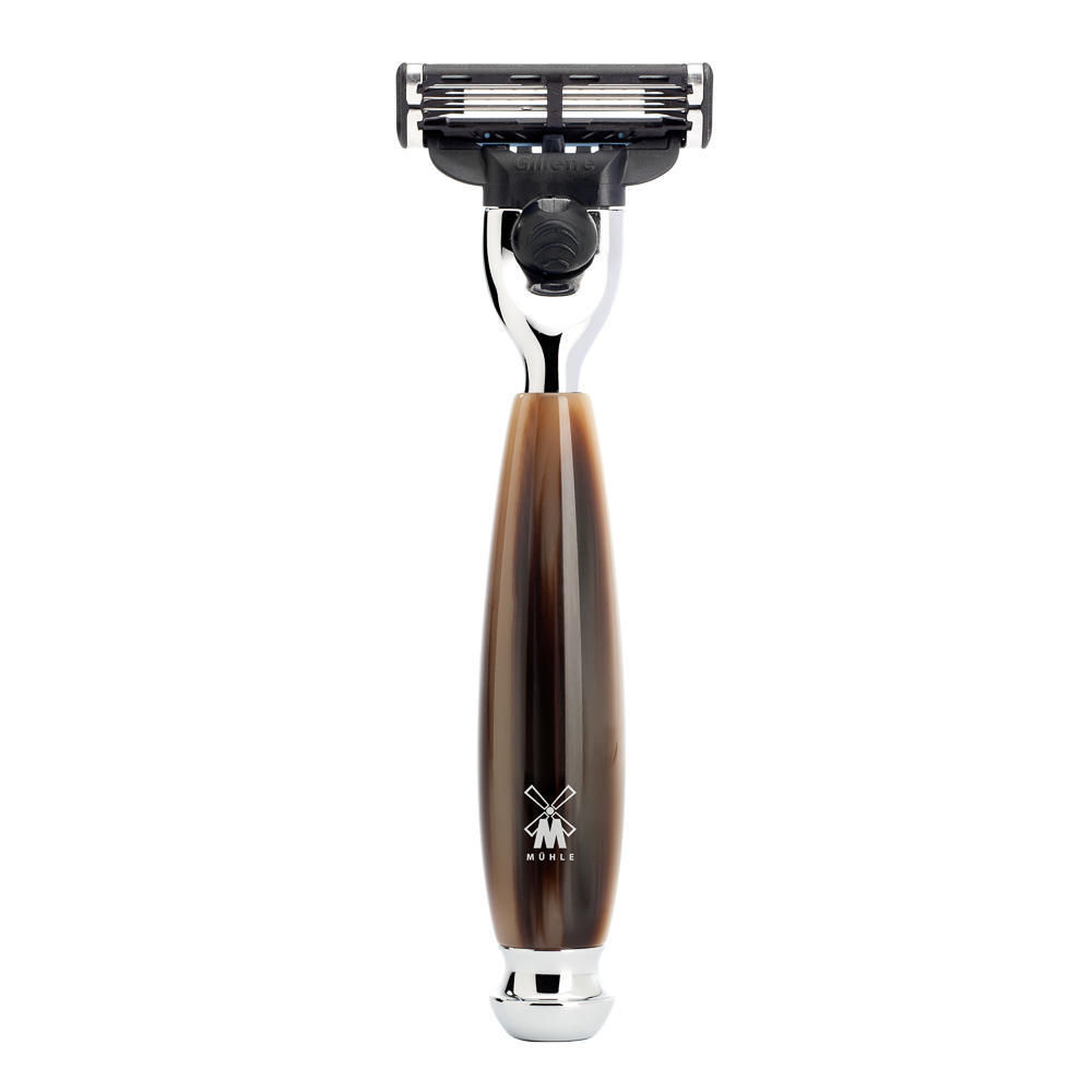MUHLE VIVO Brown Horn Resin Mach3 Razor - R332M3