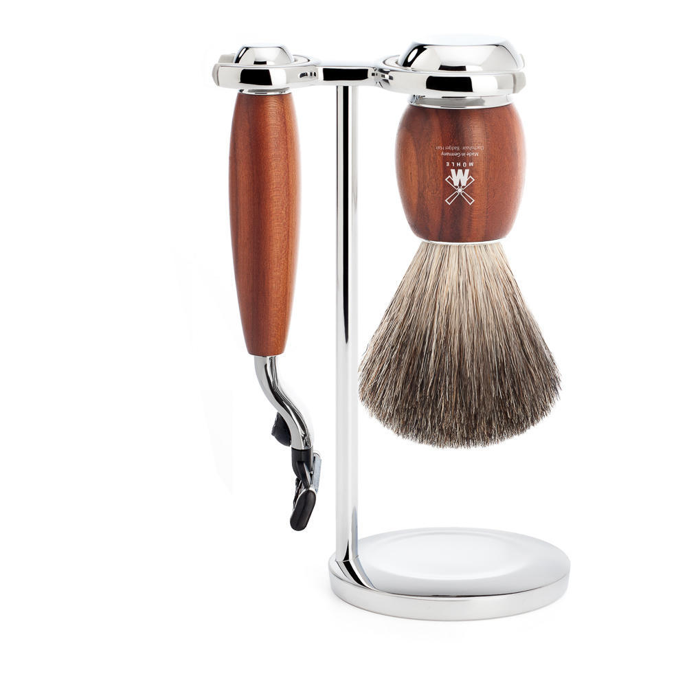 MUHLE VIVO Plumwood 3-piece Pure Badger Brush and Mach3 Razor Shaving Set - S81H331M3