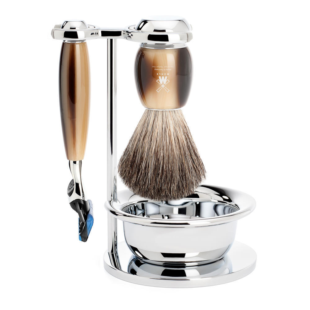 MUHLE VIVO Brown Horn Resin 4-piece Pure Badger Brush and Fusion Razor Shaving Set - S81M332SF