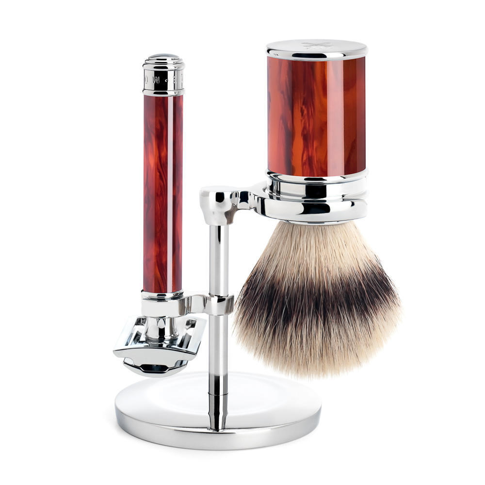 MUHLE TRADITIONAL Tortoiseshell Silvertip Fibre Brush and Closed Comb Safety Razor Shaving Set - S31M108