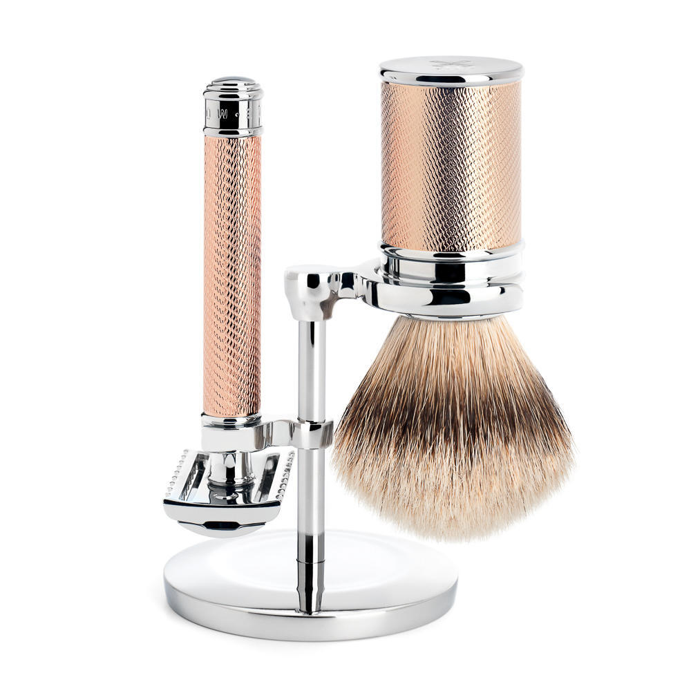 MUHLE Rose Gold Silvertip Badger Brush and Open Comb Safety Razor Shaving Set - S091M41RG