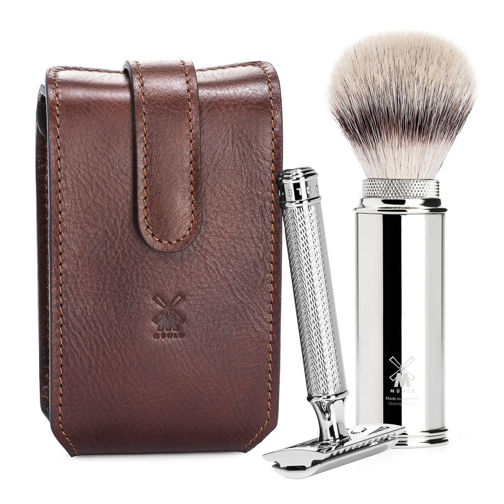 MUHLE TRAVEL Brown Leather Case Silvertip Fibre Brush and Safety Razor Travel Set - RT2SR