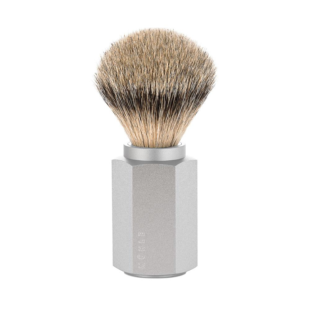 MUHLE HEXAGON Silver Handle, Silvertip Badger Shaving Brush - 091MHXGPURE