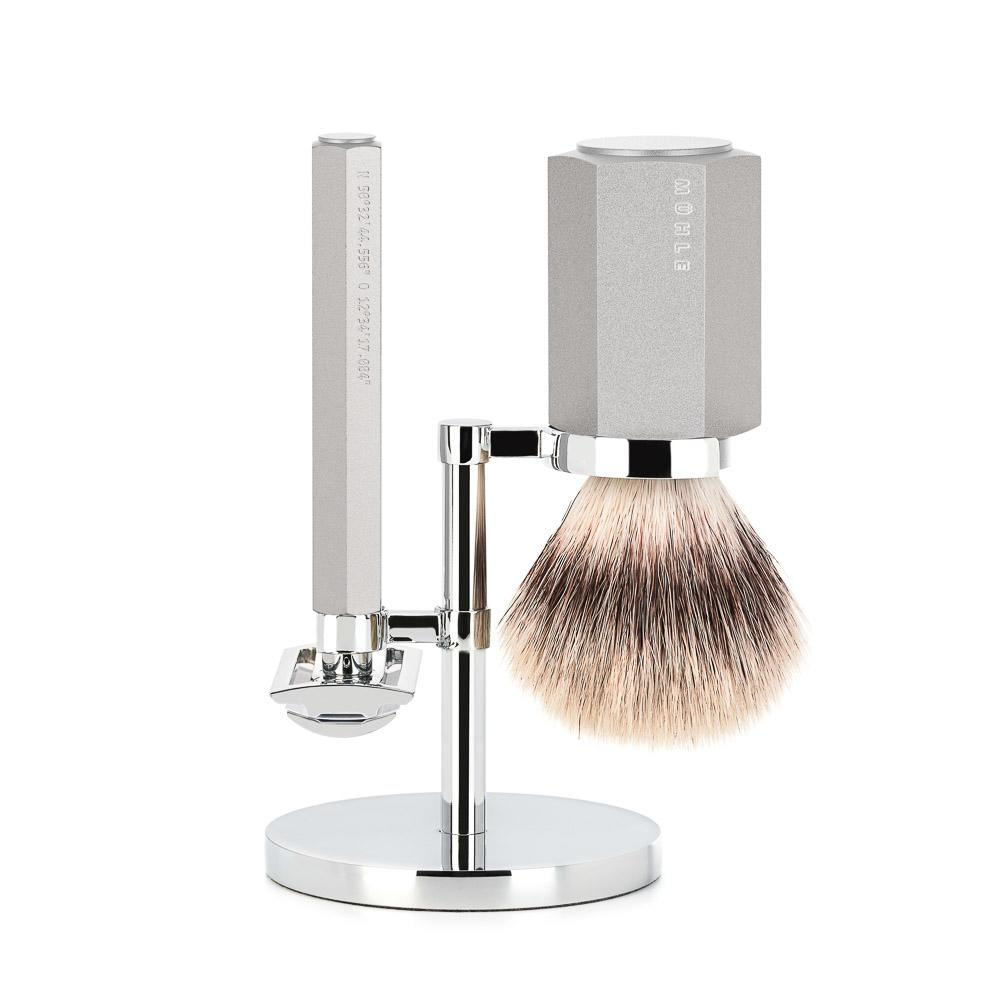 MÜHLE HEXAGON Series Silver 3-Piece Silvertip Fibre Shaving Set - S31MHXGPURE