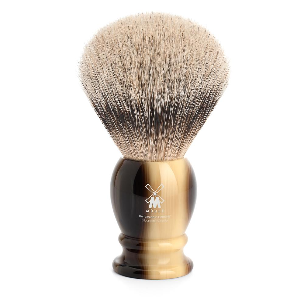 MUHLE Classic X-Large Brown Horn Silvertip Badger Shaving Brush - 95K252