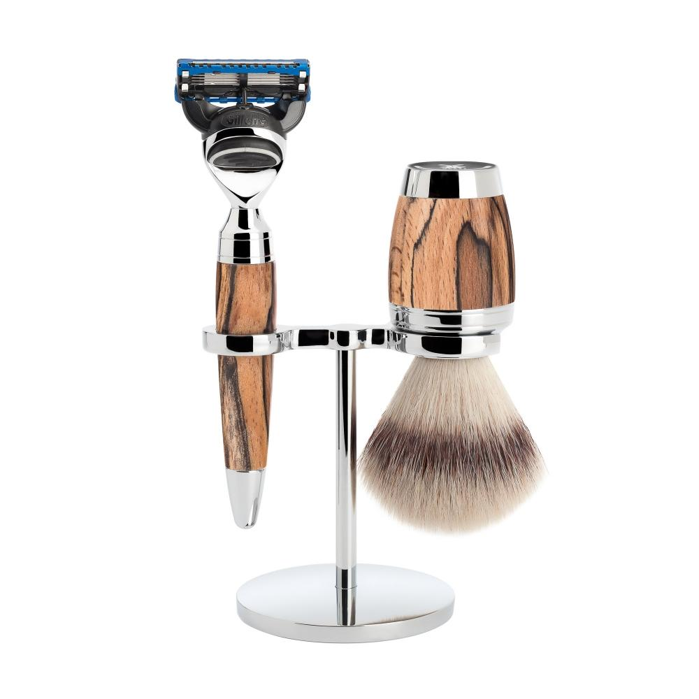 MÜHLE STYLO Spalted Beech 3-piece Silvertip Fibre / Fusion Shaving Set