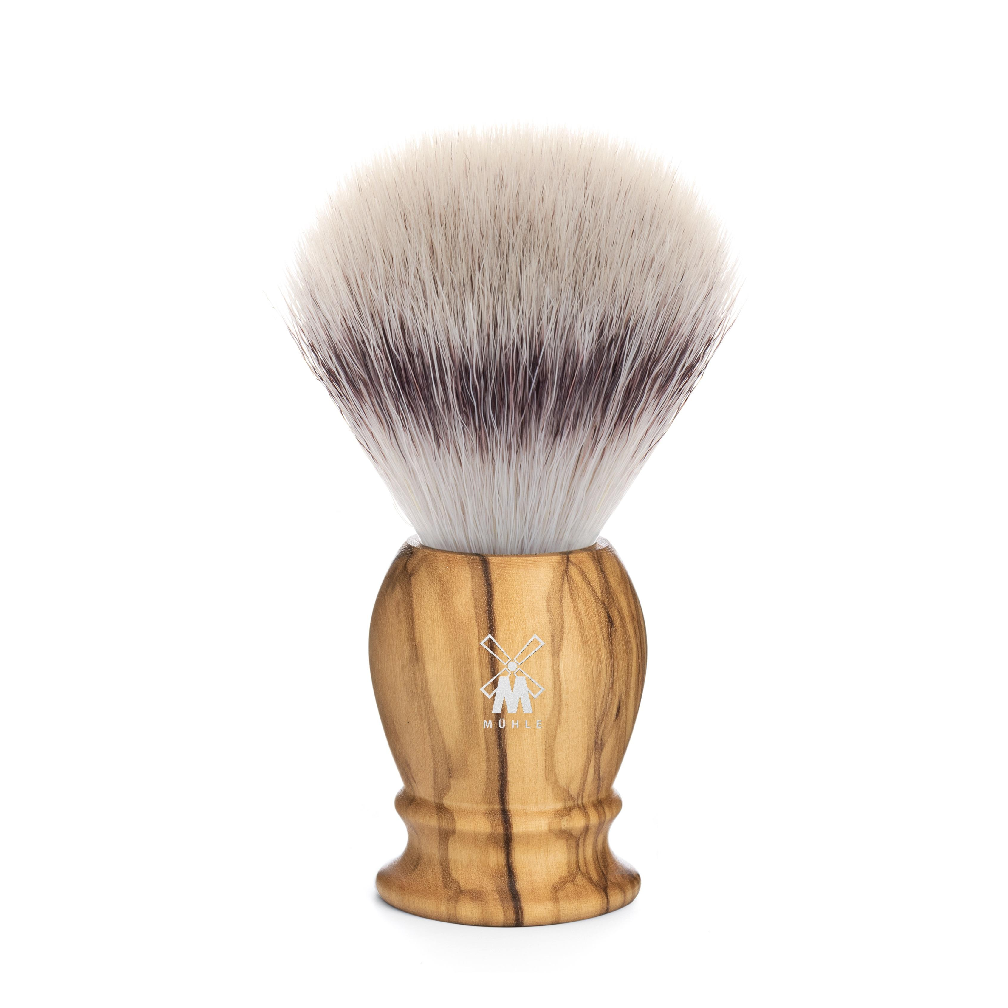MÜHLE CLASSIC Olivewood brush in Silvertip Fibre.