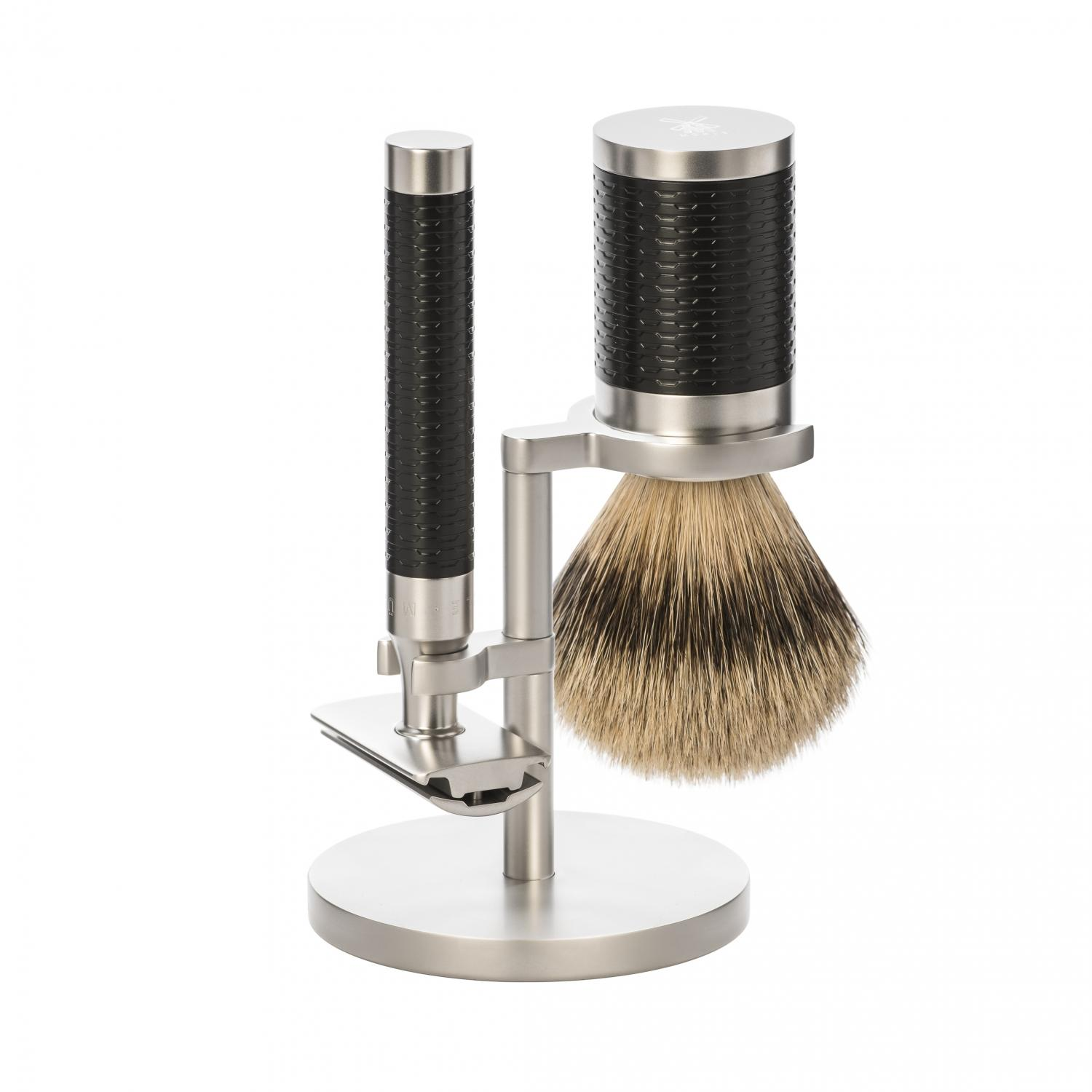 Shaving set from MÜHLE, silvertip badger, handle material stainless steel/black.