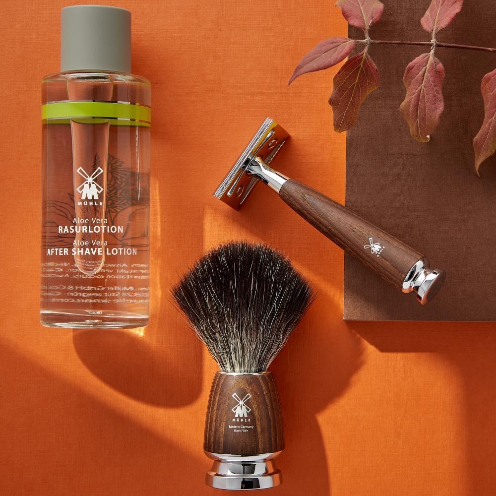 The Aloe Vera Aftershave Lotion, RYTMO Black Fibre Steamed Ash Shaving Brush (21H220), RYTMO Steamed Ash Safety Razor (R220SR)