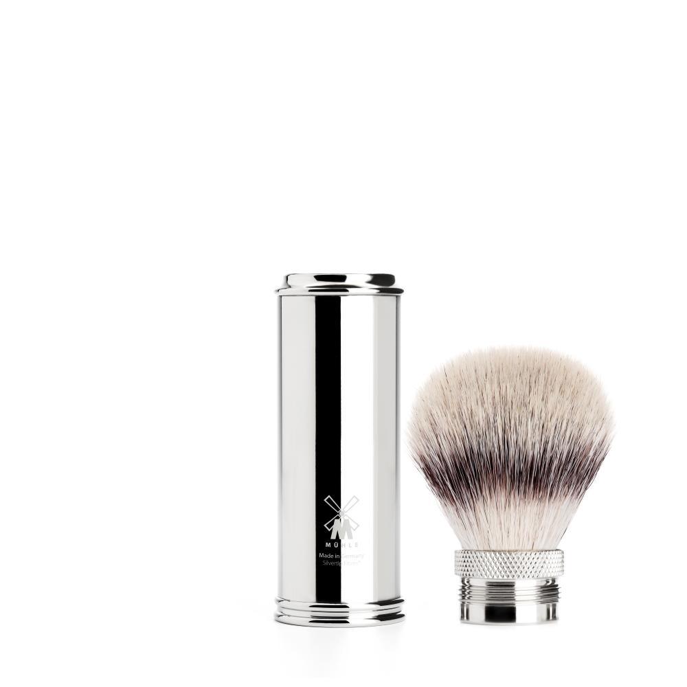 The TRAVEL Chrome Silvertip Fibre shaving brush by MÜHLE