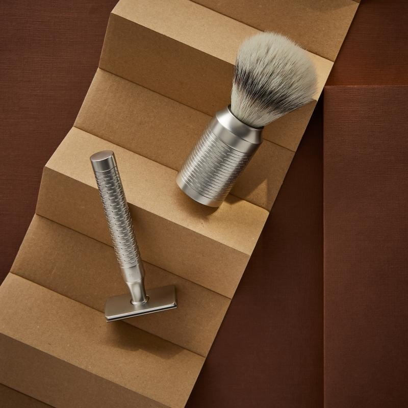 Pictured: The ROCCA Matt Stainless Steel Shaving Set by MÜHLE