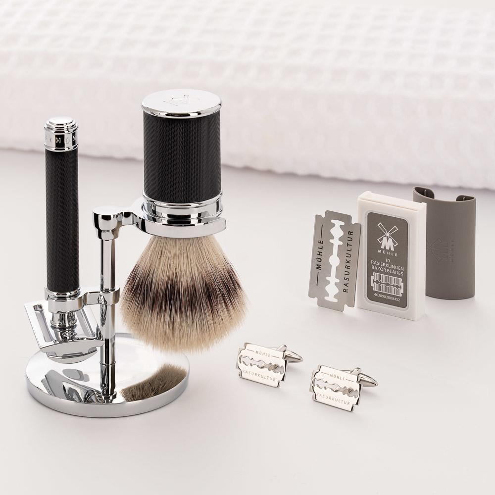 Pictured: The TRADITIONAL Black Chrome Gift Set by MÜHLE