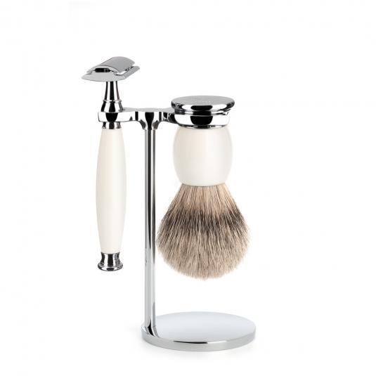 MUHLE SOPHIST Silvertip Badger and Safety Razor Shaving Set in Porcelain - S93P84SR