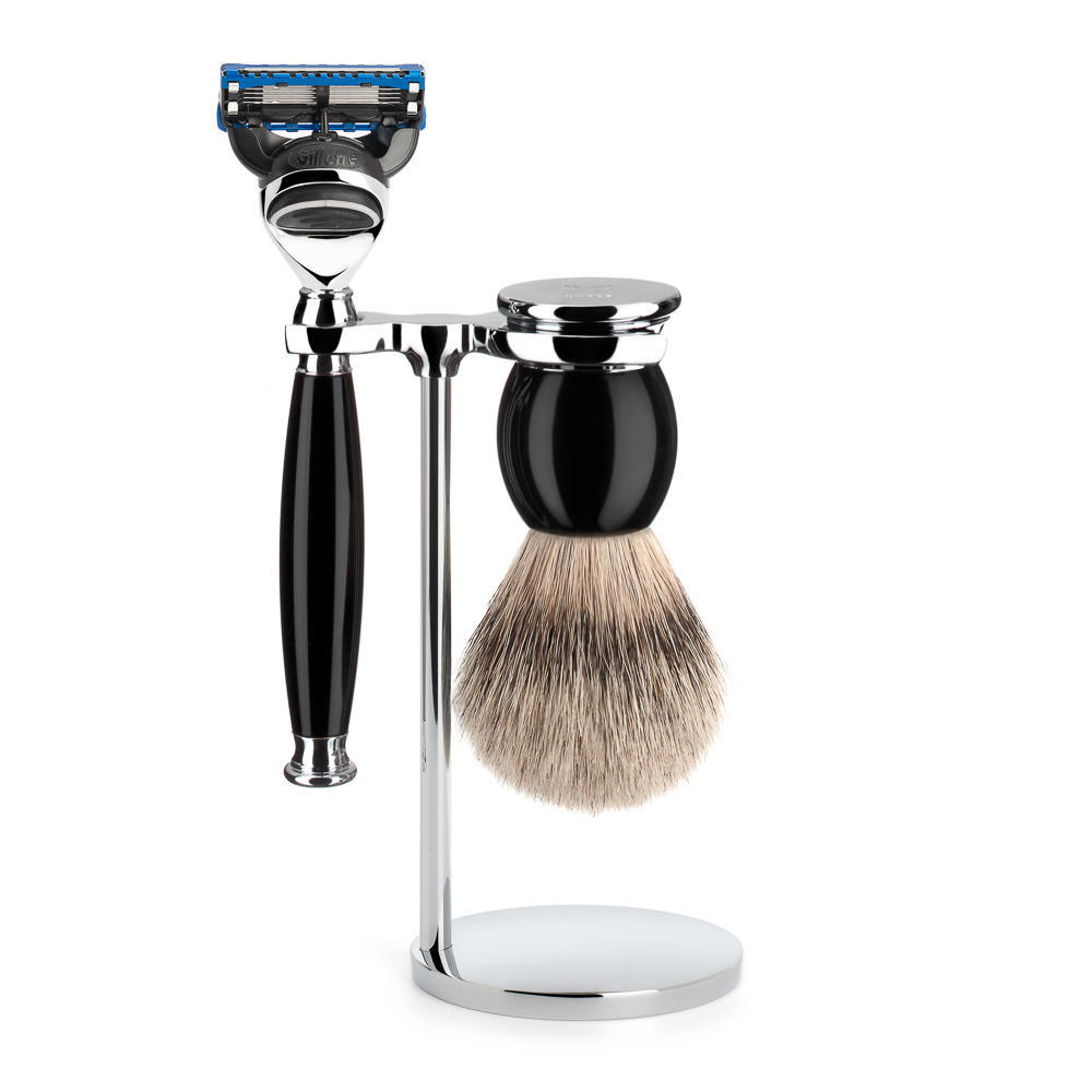 MUHLE SOPHIST Silvertip Badger Brush and Fusion Razor Shaving Set in Black with Stand - S93K44F