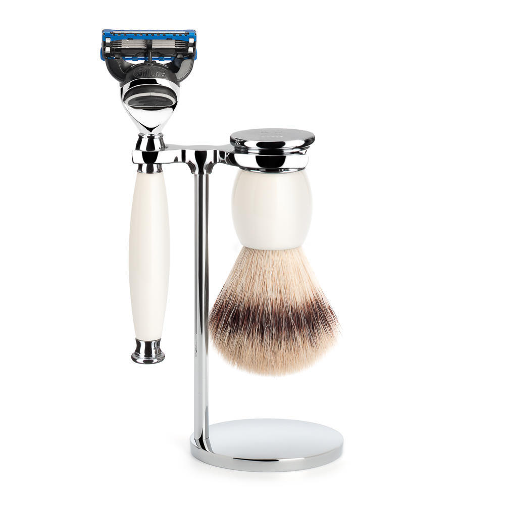 MUHLE SOPHIST Silvertip Fibre Brush and Fusion Razor Shaving Set in Porcelain with Stand - S33P84F