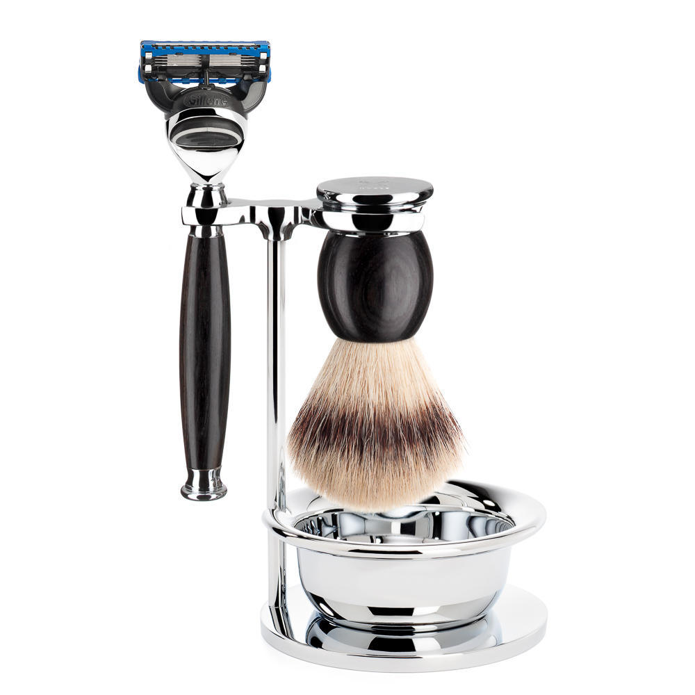 MUHLE SOPHIST Silvertip Fibre Brush and Fusion Razor Shaving Set in Grenadille with Bowl and Stand - S33H85SF