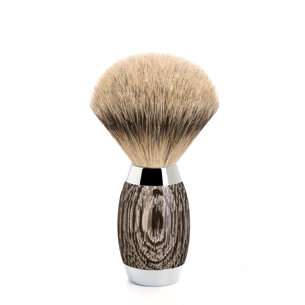 MUHLE EDITION No. 3 - Bog Oak & Sterling Silver with Silvertip Badger Shaving Brush - 493ED3