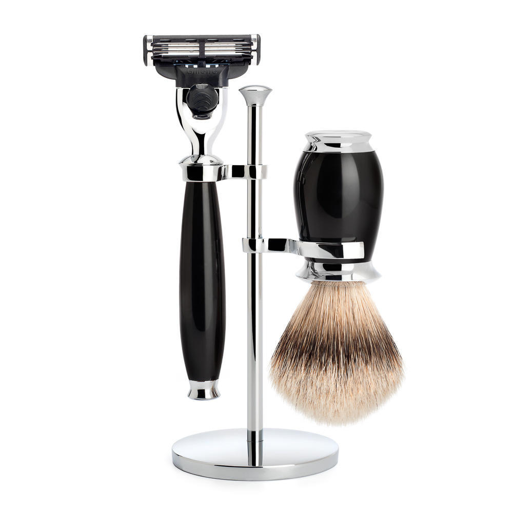 MUHLE PURIST Silvertip Badger Brush and Mach3 Razor Shaving Set in Black with Stand - S091K56M3