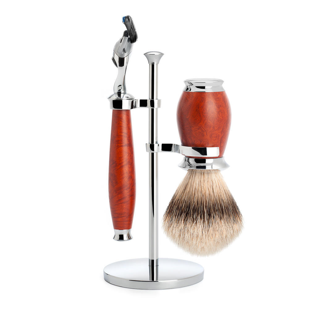 MUHLE PURIST Silvertip Badger Brush and Fusion Razor Shaving Set in Briar Wood with Stand - S091H59F