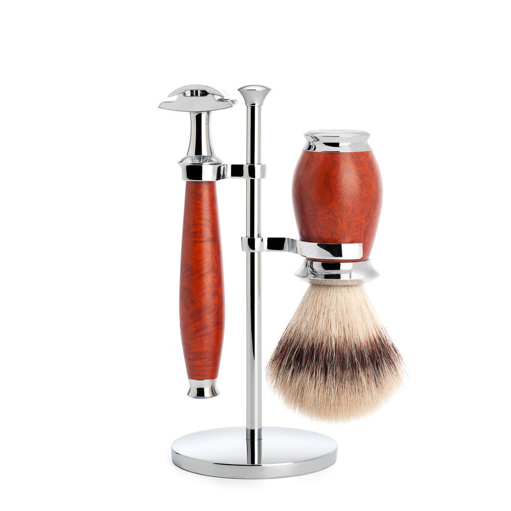 MUHLE PURIST Silvertip Fibre Shaving Brush and Safety Razor Shaving Set in Briar Wood with Stand - S31H59SR