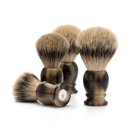 MUHLE Classic Brown Horn Silvertip Badger Shaving Brushes