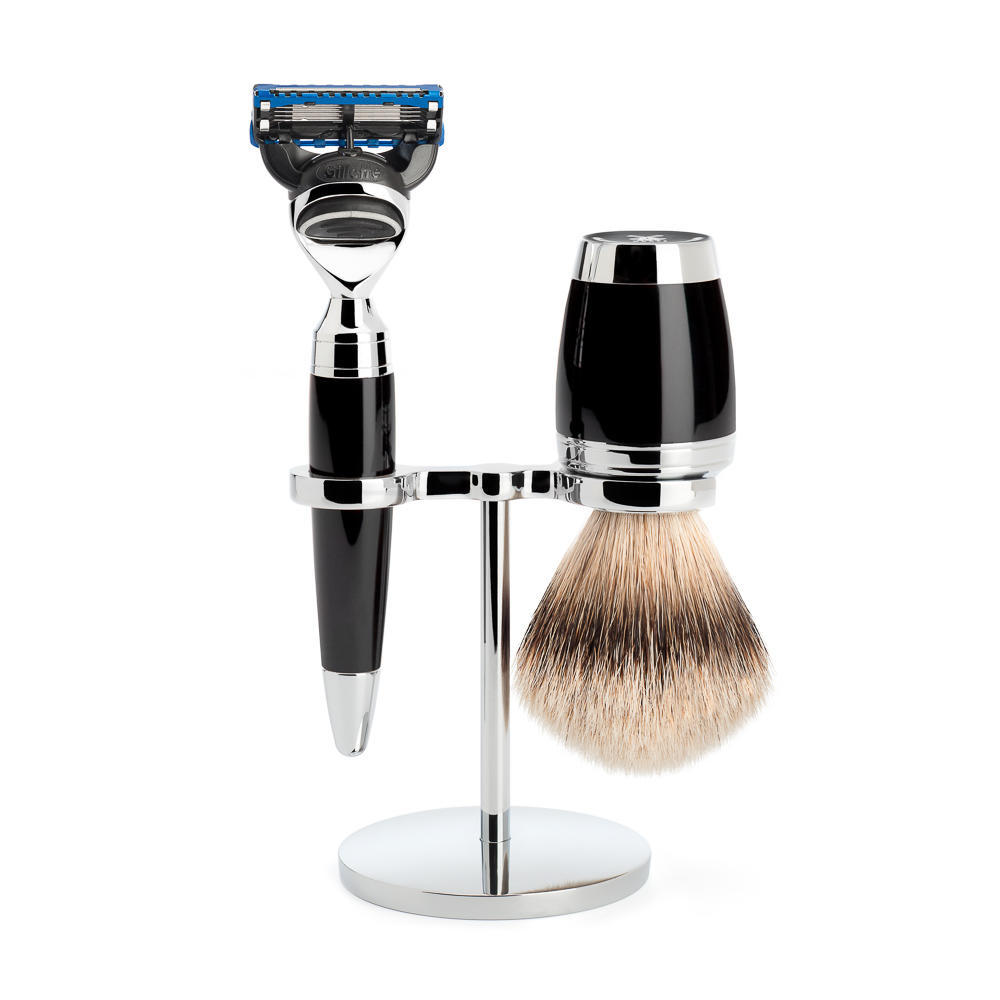 MÜHLE STYLO 3-piece shaving set in black Incl. silvertip badger shaving brush and Fusion razor