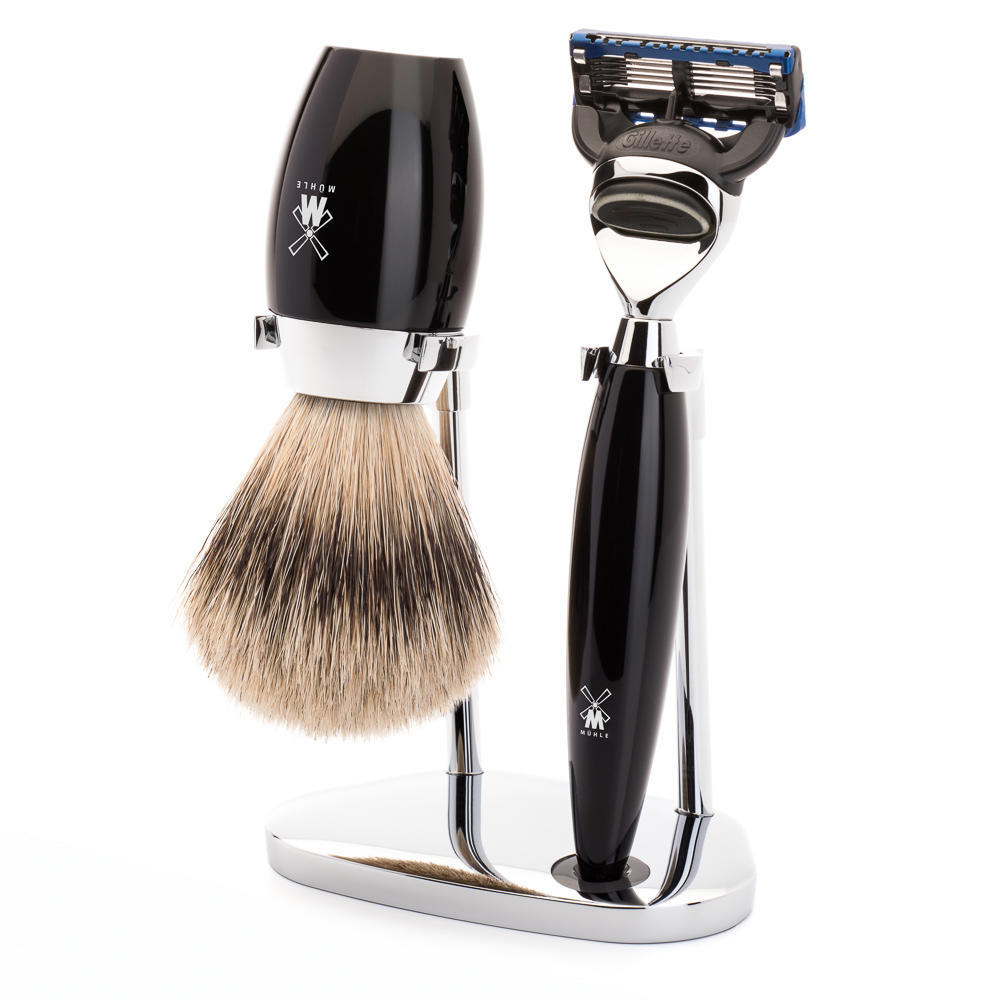 MÜHLE KOSMO 3-piece shaving set in black Incl. silvertip badger shaving brush and Fusion razor
