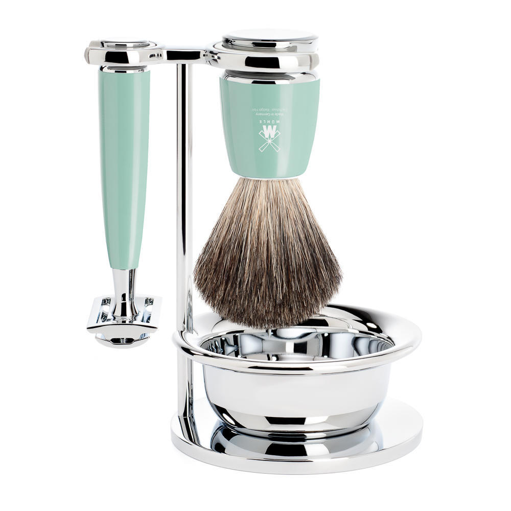 MULE RYTMO Mint Resin 4-piece Pure Badger Brush and Safety Razor Shaving Set - S81M224SSR