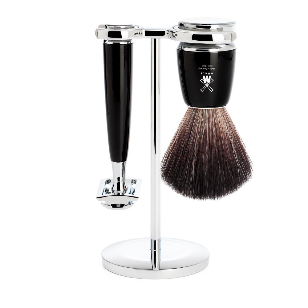 MUHLE RYTMO Black 3-piece Black Fibre Brush and Safety Razor Shaving Set - S21M226SR
