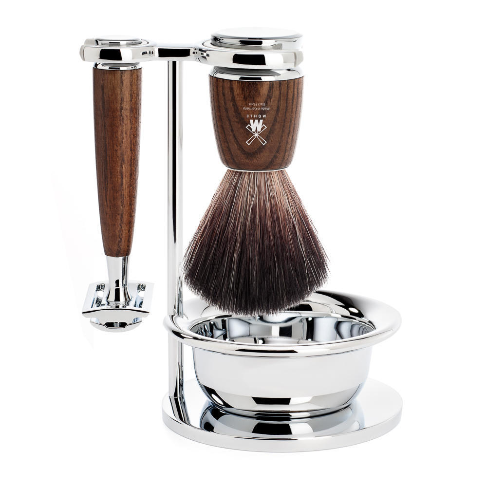 MUHLE RYTMO Steamed Ash 4-piece Black Fibre Brush and Safety Razor Shaving Set - S21H220SSR