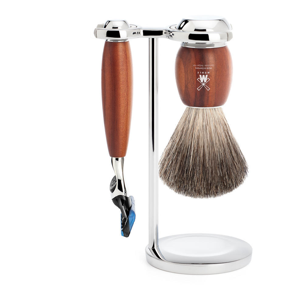 MUHLE VIVO Plumwood 3-piece Pure Badger Brush and Fusion Razor Shaving Set - S81H331F