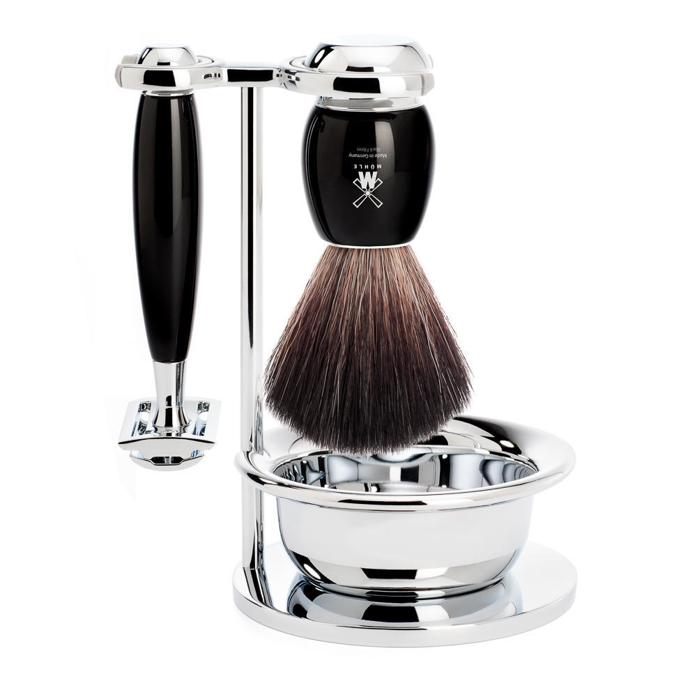 MUHLE VIVO Black 4-piece Shaving Set Black Fibre Brush and Safety Razor Shaving Set with Stand and Bowl - S21M336SSR