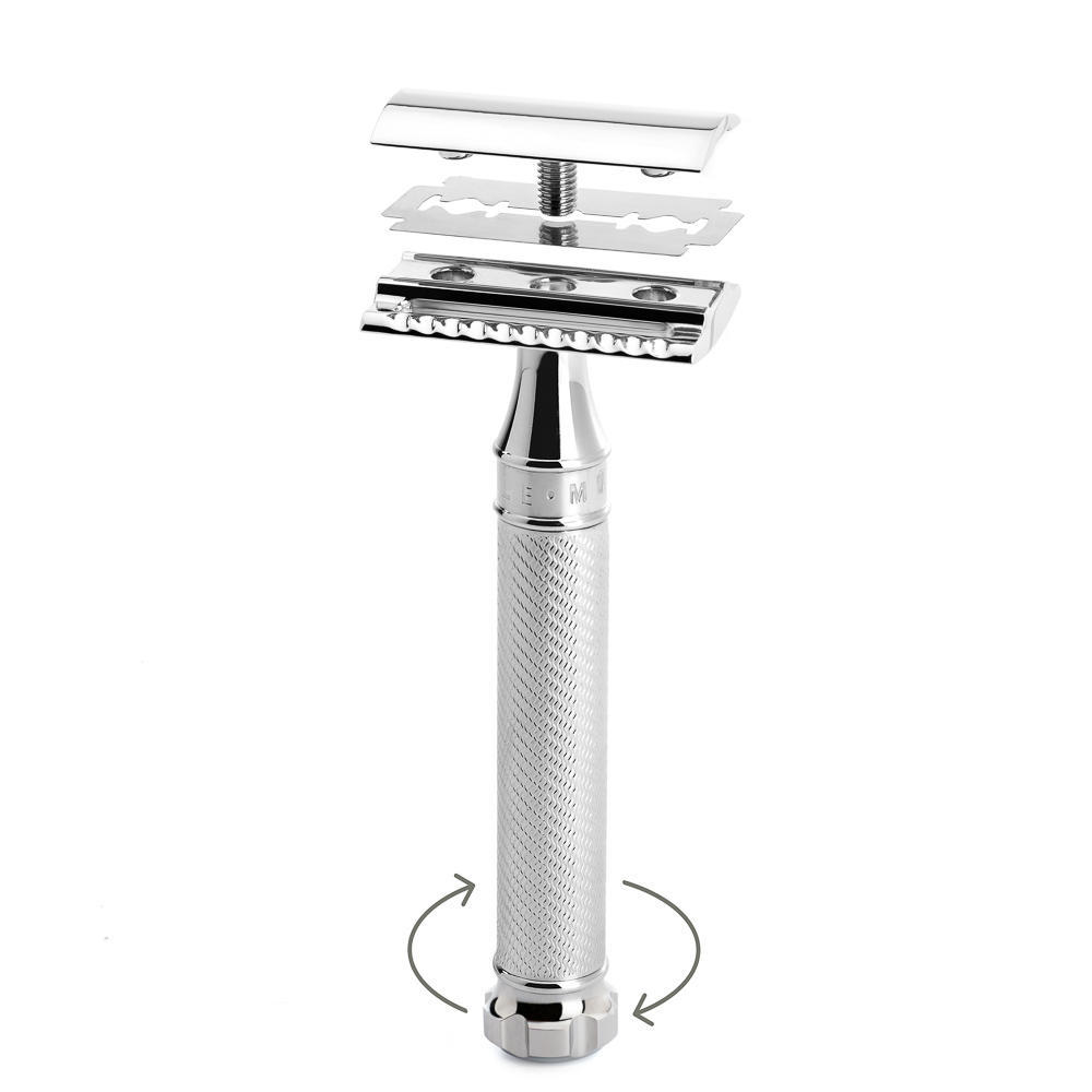 MUHLE TRADITIONAL Chrome TWIST Closed Comb Safety Razor - R89TWIST