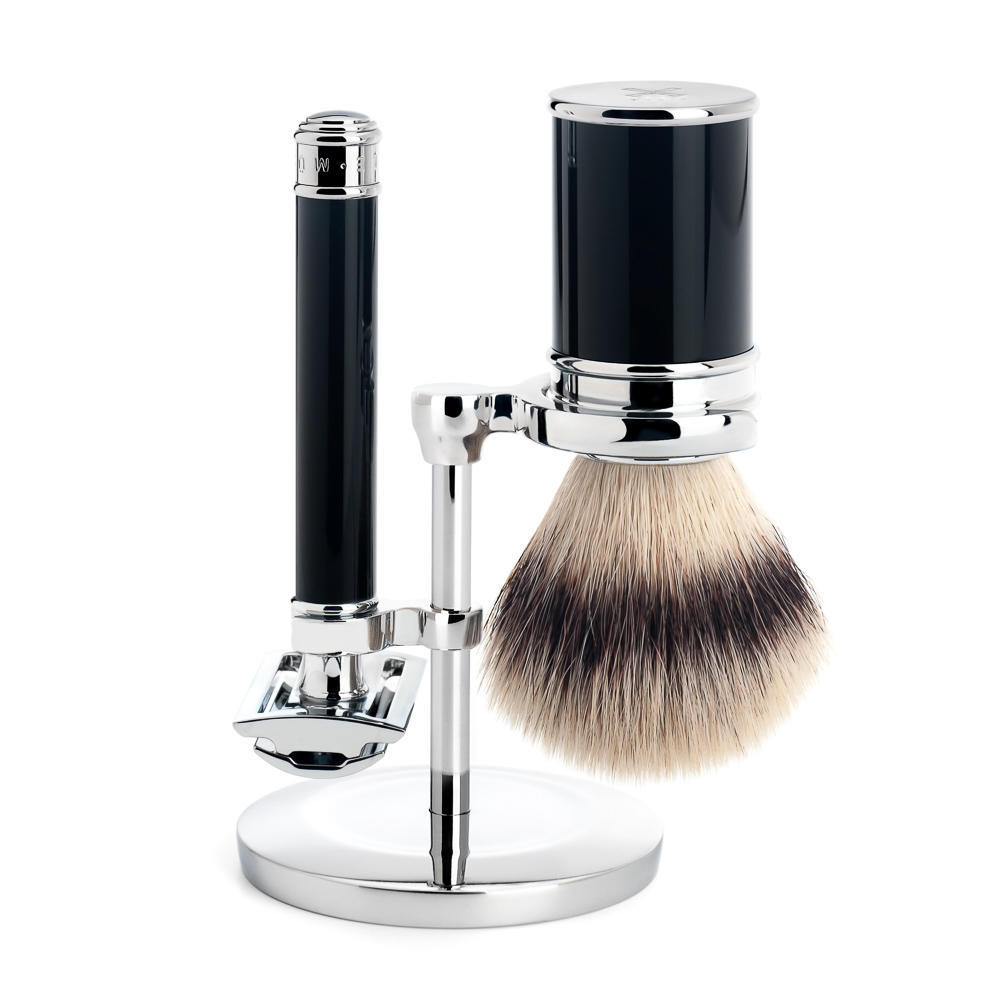 MUHLE TRADITIONAL Black Silvertip Fibre Brush and Closed Comb Safety Razor Shaving Set - S31M106