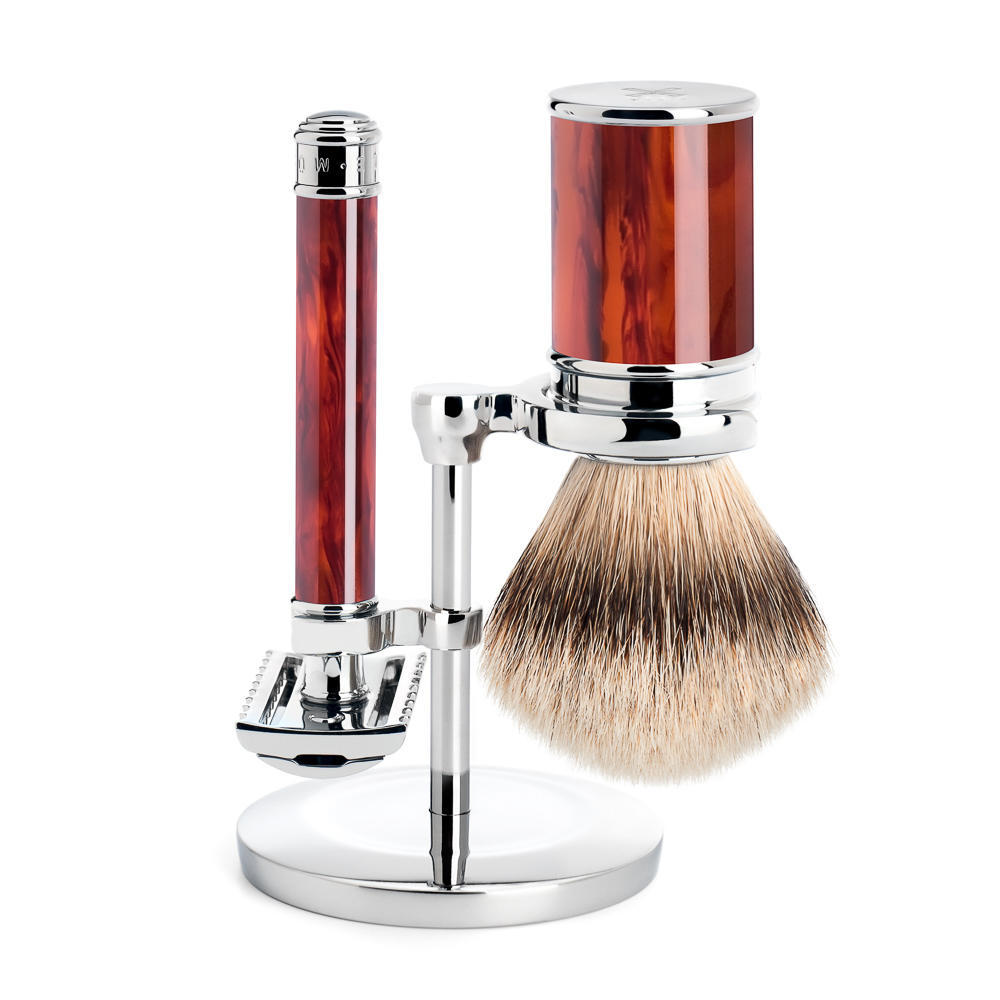 MUHLE Tortoiseshell Silvertip Badger Brush and Open Comb Safety Razor Shaving Set - S091M103