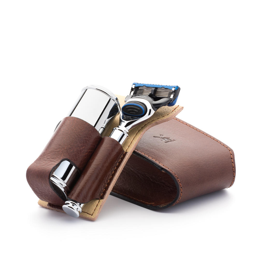 MUHLE TRAVEL Florentine Brown Leather Silvertip Fibre Brush and Fusion Shaving Kit