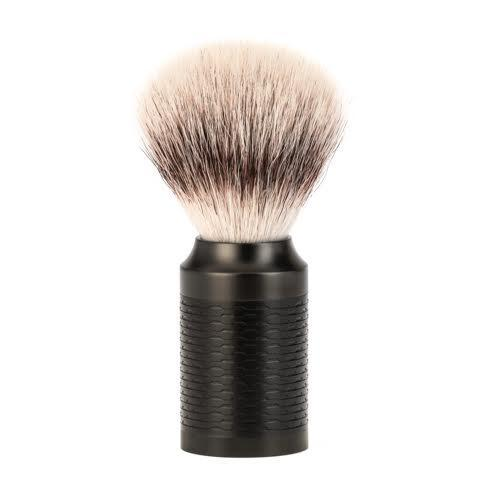 MUHLE ROCCA Jet Black Stainless Steel Silvertip Fibre Shaving Brush - 31M96JET