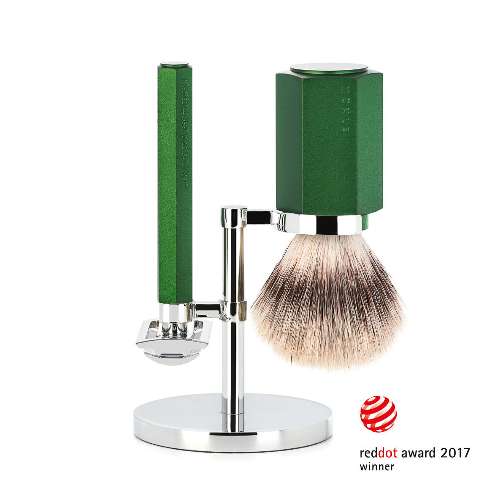 MUHLE HEXAGON Forest 3-Piece Silvertip Fibre Shaving Set - S31MHXGFOREST