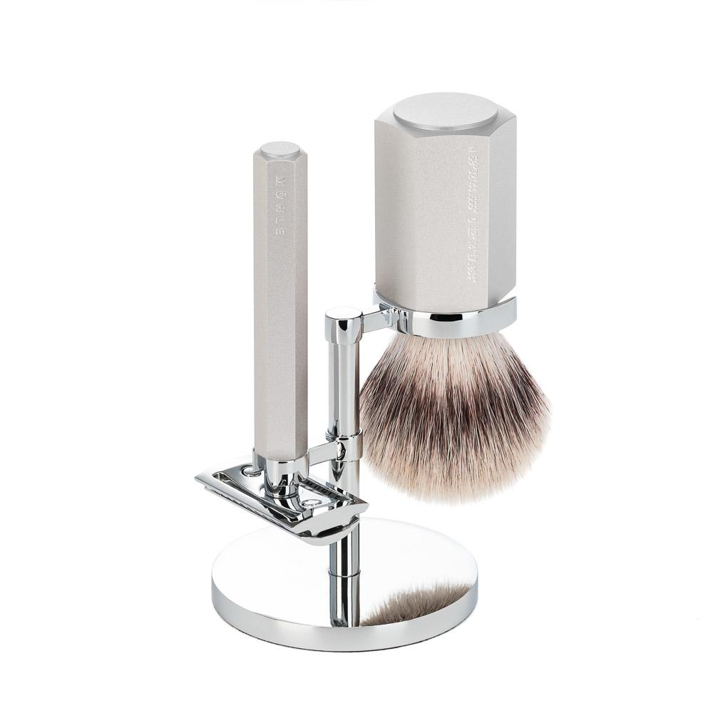 MÜHLE HEXAGON Series Silver 3-Piece Silvertip Fibre Shaving Set