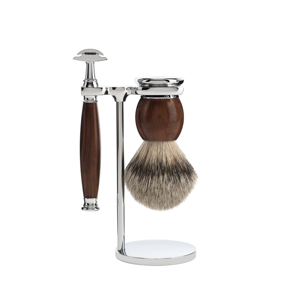 SOPHIST Ironwood 3-piece Silvertip Badger / Safety Razor Shaving Set