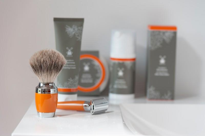 The Sea Buckthorn SHAVE CARE range by MÜHLE with STYLO Butterscotch Shaving brush and Razor.