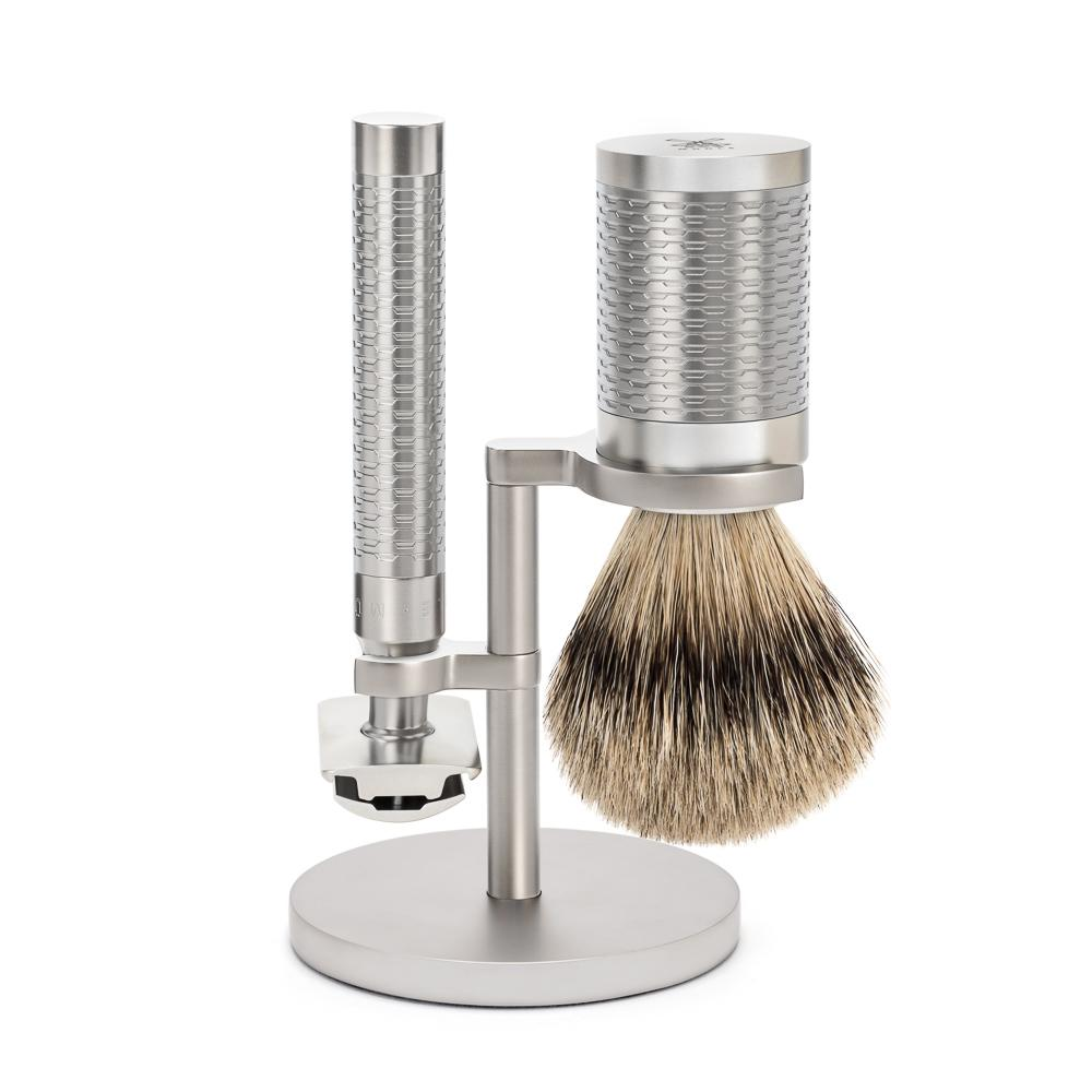 MÜHLE ROCCA Silver Matt Stainless Steel Silvertip Badger Set