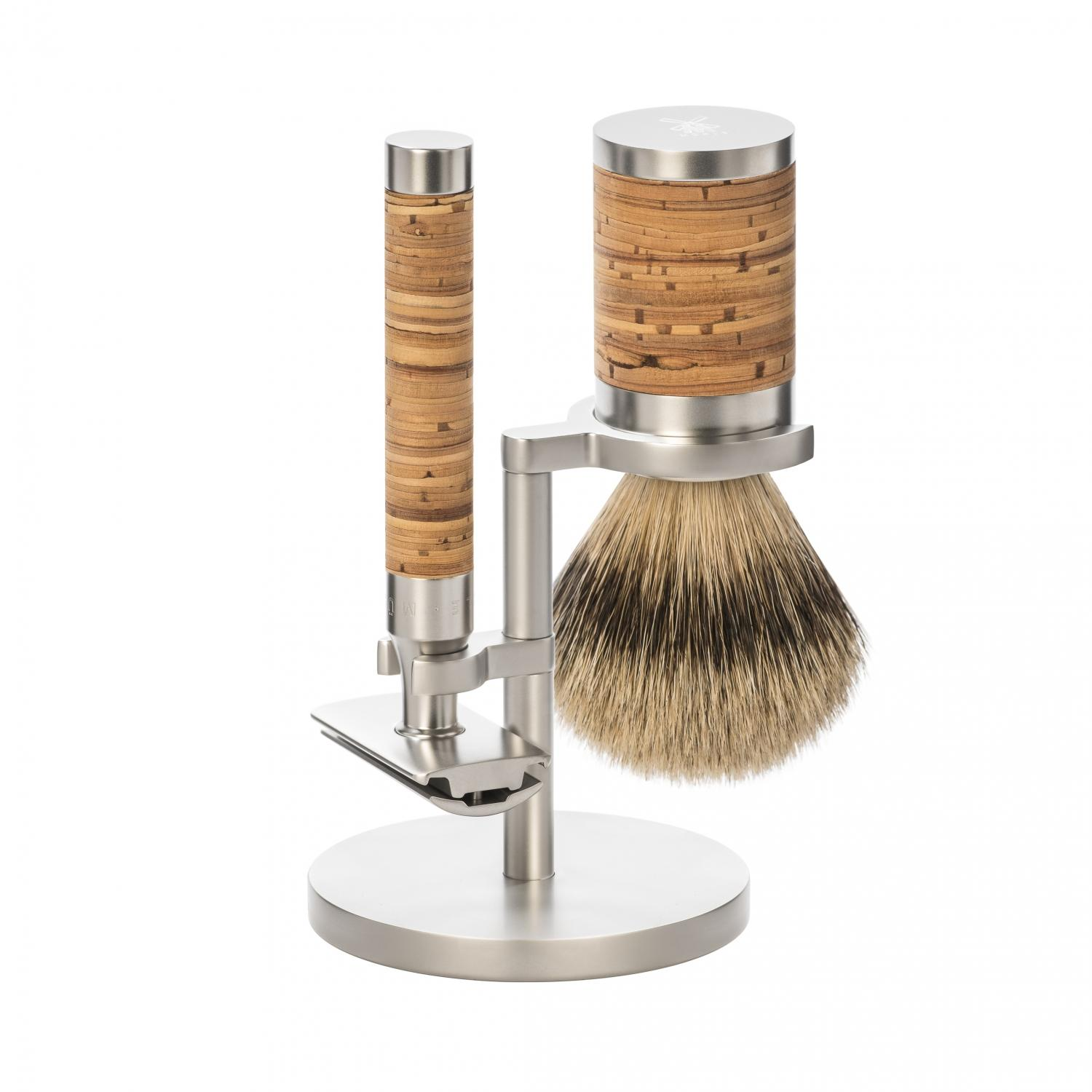 MÜHLE silvertip badger 3 piece shaving set in stainless steel and birch bark